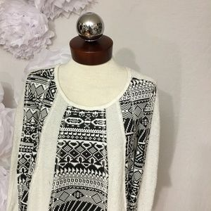 Anthropologie Tops - Anthropologie LILKA Geo Jacquard Swing pullover M